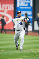 Burlington Bees pitcher Eric Alonzo (45) throws in the outfield before a game against the Quad Cities River Bandits on May 9, 2016 at Modern Woodmen Park in Davenport, Iowa.  Quad Cities defeated Burlington 12-4.  (Mike Janes/Four Seam Images)