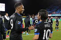 San Jose, CA - Friday April 14, 2017: Danny Hoese, Jahmir Hyka  during a Major League Soccer (MLS) match between the San Jose Earthquakes and FC Dallas at Avaya Stadium.