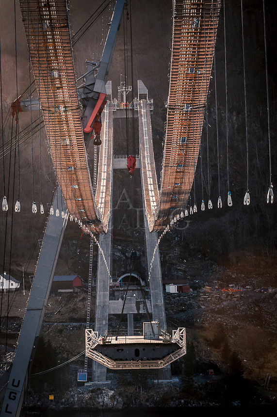 First road section is lifted up to to Dalsfjord Bridge in Dale i Sunnfjord, Norway.