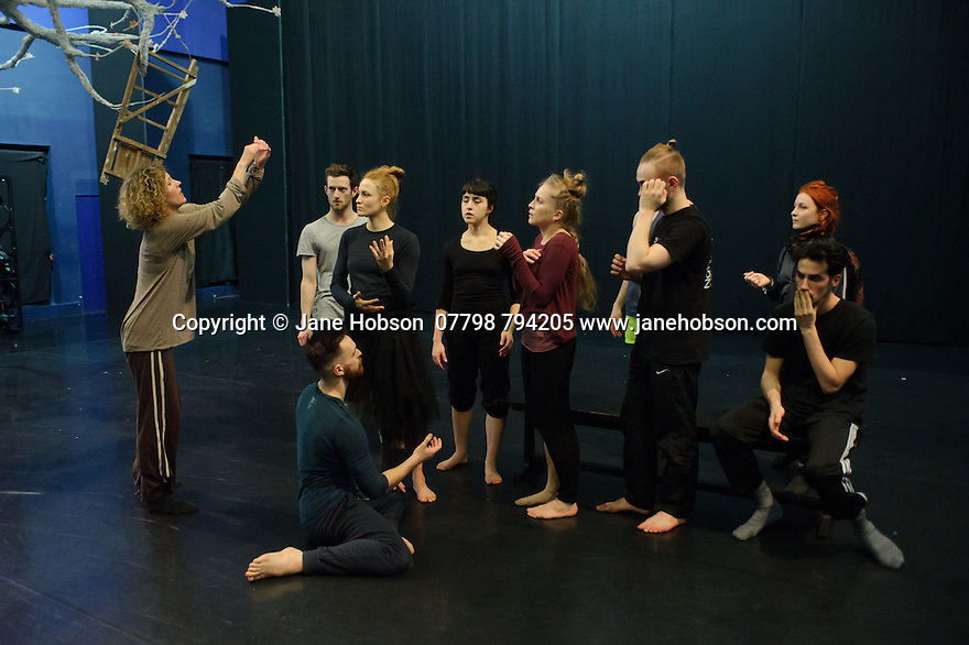 Cardiff, UK. 19.01.2016. National Dance Company Wales in the studio at Dance House, Wales Millennium Centre, rehearsing FOLK, choreographed by artistic director, Caroline Finn, in preparation for their Spring Tour 2016. Caroline Finn (left) with the Company. Photograph © Jane Hobson.