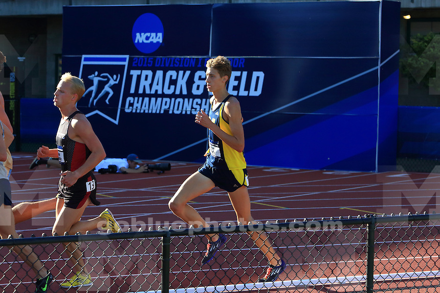 The University of Michigan men's track and field team compete on their second day of the 2015 NCAA Outdoor Track and Field Championships. Eugene, OR. Hayward Field. June 12, 2015