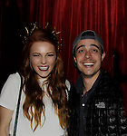 """One Life To Live Amber Skye Noyes """"Michelle"""" and costar Robert Gorrie """"Matthew Buchanan"""" together after Amber Skye performed - sang on April 17, 2014 at Rockwood Music Hall, New York City, New York. (Photo by Sue Coflin/Max Photos)"""