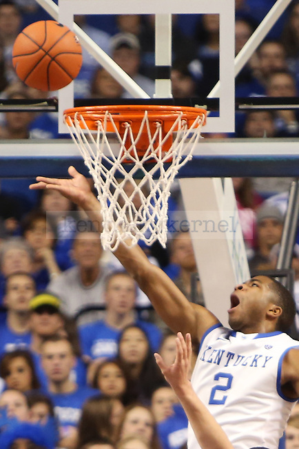 UK guard Aaron Harrison getting a lay up during the second half of the UK basketball game vs. Boise State on Tuesday, December 10, 2013, in Lexington, Ky. Photo by Kalyn Bradford   Staff