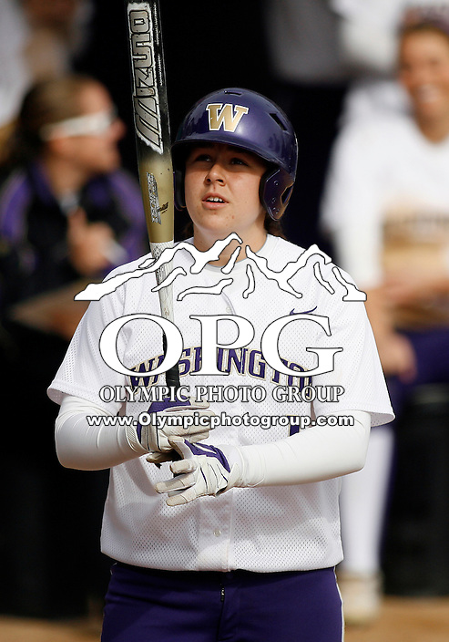 14 March 2010:   Washington Huskies catcher #1 Shawna Wright sets up in the batters box against Seattle University . Washington defeated Seattle University 8-3 at Husky Softball Stadium in Seattle, WA.