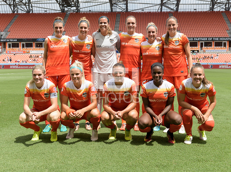 Houston, TX - Saturday May 27, 2017: Houston Dash team photo during a regular season National Women's Soccer League (NWSL) match between the Houston Dash and the Seattle Reign FC at BBVA Compass Stadium.