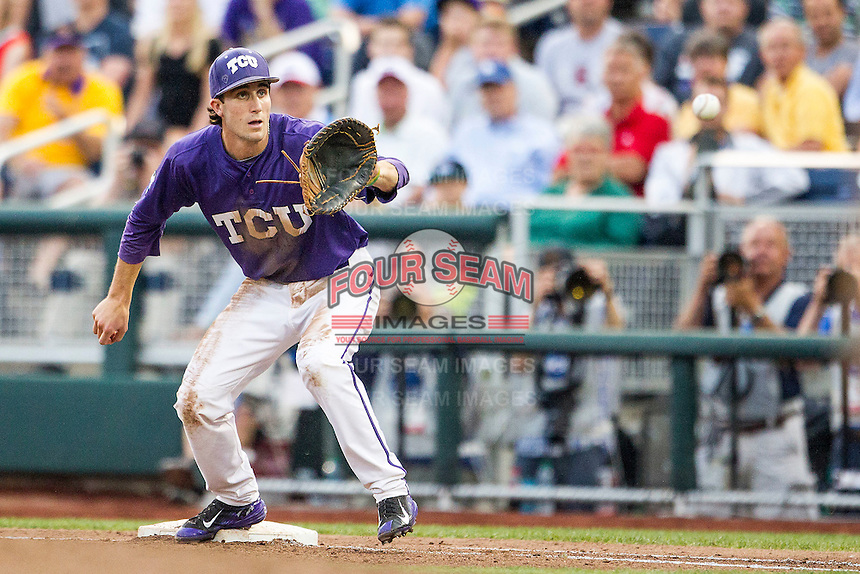 TCU Horned Frogs first baseman Jeremie Fagnan (32) on defense against the LSU Tigers in Game 10 of the NCAA College World Series on June 18, 2015 at TD Ameritrade Park in Omaha, Nebraska. TCU defeated the Tigers 8-4, eliminating LSU from the tournament. (Andrew Woolley/Four Seam Images)