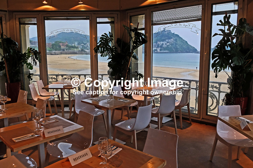 La Concha, restaurant, beach, San Sebastian, Donostia, Spain, May, 2015, 201505111067<br /> <br /> Copyright Image from Victor Patterson, 54 Dorchester Park, Belfast, UK, BT9 6RJ<br /> <br /> t: +44 28 9066 1296<br /> m: +44 7802 353836<br /> vm +44 20 8816 7153<br /> <br /> e1: victorpatterson@me.com<br /> e2: victorpatterson@gmail.com<br /> <br /> www.victorpatterson.com<br /> <br /> IMPORTANT: Please see my Terms and Conditions of Use at www.victorpatterson.com