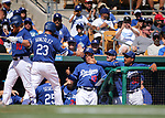 Los Angeles Dodgers' Adrian Gonzalez is greeted in the dugout after hitting a home run against the Arizona Diamondback in a spring training game in Glendale, Ariz., on Friday, March 24, 2017.<br /> Photo by Cathleen Allison/Nevada Photo Source