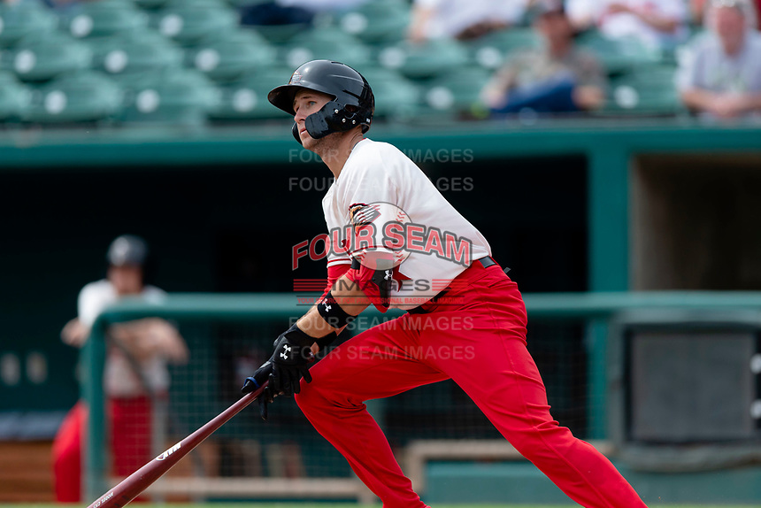Fresno Grizzlies shortstop Carter Kieboom (8) follows through on his swing during a game against the Reno Aces at Chukchansi Park on April 8, 2019 in Fresno, California. Fresno defeated Reno 7-6. (Zachary Lucy/Four Seam Images)