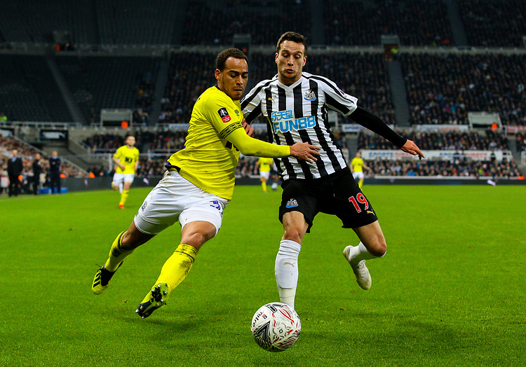Blackburn Rovers' Elliott Bennett battles with Newcastle United's Javi Manquillo<br /> <br /> Photographer Alex Dodd/CameraSport<br /> <br /> Emirates FA Cup Third Round - Newcastle United v Blackburn Rovers - Saturday 5th January 2019 - St James' Park - Newcastle<br />  <br /> World Copyright © 2019 CameraSport. All rights reserved. 43 Linden Ave. Countesthorpe. Leicester. England. LE8 5PG - Tel: +44 (0) 116 277 4147 - admin@camerasport.com - www.camerasport.com