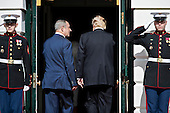 U.S. President Donald Trump right and Benjamin Netanyahu, Israel's prime minister, walk into the White House in Washington, D.C., U.S., on Wednesday, Feb. 15, 2017. Netanyahu is trying to recalibrate ties with Israel's top ally after eight years of high-profile clashes with former President Barack Obama, in part over Israel's policies toward the Palestinians. <br /> Credit: Andrew Harrer / Pool via CNP
