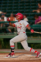 Domnit Bolivar of the Palm Beach Cardinals during the game at Jackie Robinson Ballpark in Daytona Beach, Florida on July 30, 2010. Photo By Scott Jontes/Four Seam Images