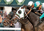 LEXINGTON, KY - April 07, 2018. #4 Warrior's Club and jockey Luis Contreras win the 32nd running of The Commonwealth Grade 3 $250,000 for owner Churchill Downs Racing Club, and trainer D. Wayne Lukas at Keeneland Race Course.  Lexington, Kentucky. (Photo by Candice Chavez/Eclipse Sportswire/Getty Images)