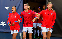 San Diego, CA - Sunday July 30, 2017: Mallory Pugh, Morgan Brian, Lindsey Horan during a 2017 Tournament of Nations match between the women's national teams of the United States (USA) and Brazil (BRA) at Qualcomm Stadium.