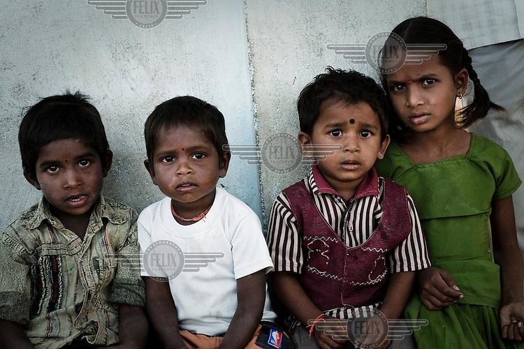 Children in Boilakunta viallge near Mahabubnagar.