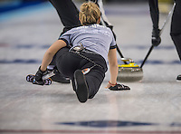 Glasgow. SCOTLAND.  Galina ARSENKINA, slides over the hog line watching her &quot;Stone&quot; after releasing it the hog line,  during  the &quot;Round Robin&quot; Game.  Scotland vs Russia,  Le Gruy&egrave;re European Curling Championships. 2016 Venue, Braehead  Scotland<br /> Thursday  24/11/2016<br /> <br /> [Mandatory Credit; Peter Spurrier/Intersport-images]