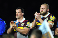 Dave Ward and Mark Lambert take part in a minutes applause in memory of Harlequins player Seb Adeniran-Olule. Aviva Premiership match, between Harlequins and Leicester Tigers on February 24, 2017 at the Twickenham Stoop in London, England. Photo by: Patrick Khachfe / JMP