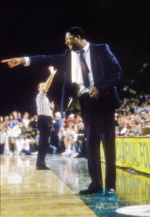 02 APR 1984:  Georgetown coach John Thompson during the NCAA Final Four basketball championship held in Seattle, WA, Kingdome. Georgetown defeated Houston for the title. Photo Copyright Rich Clarkson