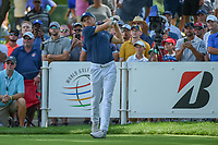 Jordan Spieth (USA) watches his tee shot on 18 during 2nd round of the World Golf Championships - Bridgestone Invitational, at the Firestone Country Club, Akron, Ohio. 8/3/2018.<br /> Picture: Golffile | Ken Murray<br /> <br /> <br /> All photo usage must carry mandatory copyright credit (© Golffile | Ken Murray)