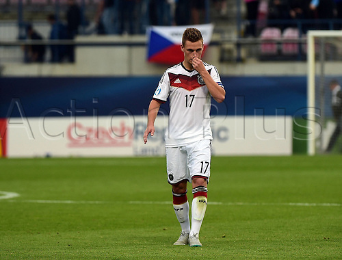 27.06.2015. Andruv Stadium, Olomouc, Czech Republic. U21 European championships, semi-final. Portugal versus Germany.  Joshua Kimmich (Germany)  frustrated after the game which they lost 5-0