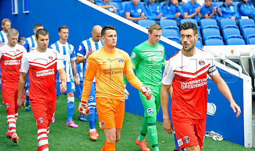 30.08.2014.  Brighton, England. Sky Bet Championship. Brighton and Hove Albion versus Charlton Athletic. Teams emerge from the Amex tunnel
