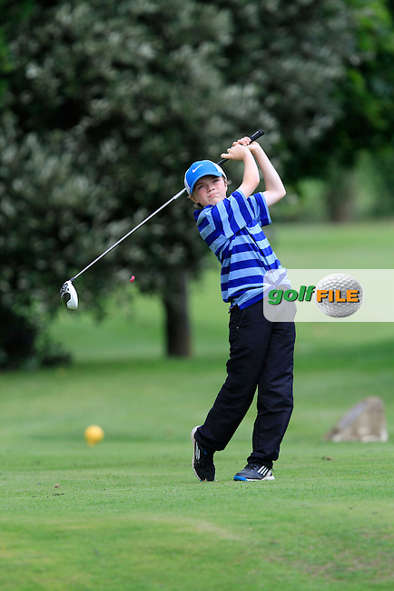 James Hamill (Holywood) on the 11th tee during the Irish Boys Under 13 Amateur Open Championship in Malahide Golf Club on Monday 11th August 2014.<br /> Picture:  Thos Caffrey / www.golffile.ie