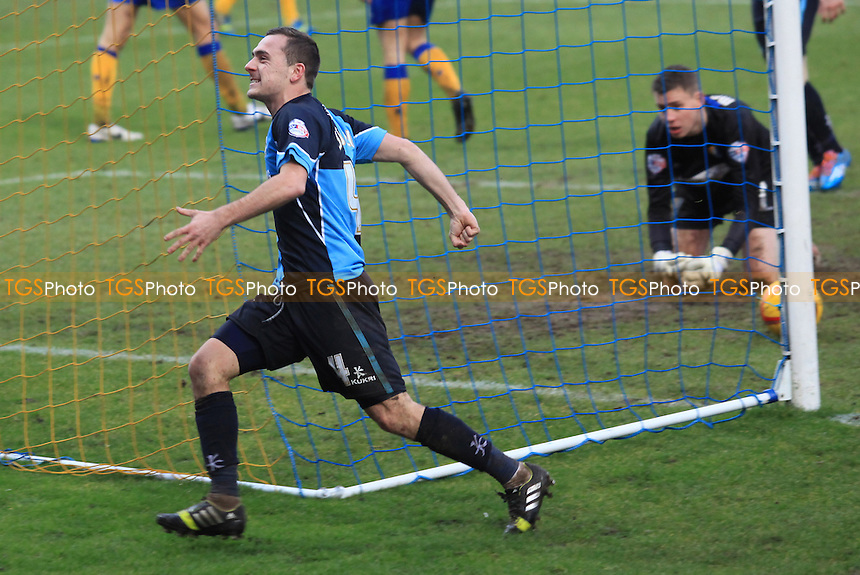 Josh Scowen celebrates scoring Wycombe's second goal - Mansfield Town vs Wycombe Wanderers - Sky Bet League Two Football at the One Call Stadium, Mansfield - 25/01/14 - MANDATORY CREDIT: Paul Dennis/TGSPHOTO - Self billing applies where appropriate - 0845 094 6026 - contact@tgsphoto.co.uk - NO UNPAID USE
