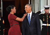United States President Barack Obama (R) and Michelle Obama share a moment as they wait for President-elect Donald Trump and wife Melania at the White House before the inauguration on January 20, 2017 in Washington, D.C.  Trump becomes the 45th President of the United States.      <br /> Credit: Kevin Dietsch / Pool via CNP