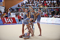 Rhythmic group from Russia performs with 5-hoops during All Around at 2010 Holon Grand Prix at Holon, Israel on September 3, 2010.  (Photo by Tom Theobald).