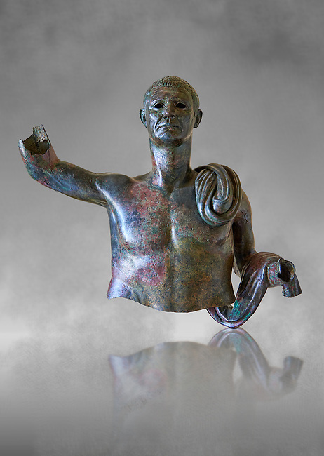 Upper part of a monumental Roman statue of an unknown person possibly a Roman magistrate of Imperial Rome , circa 40BC, inv 15055 Vatican Museum Rome, Italy, grey art background
