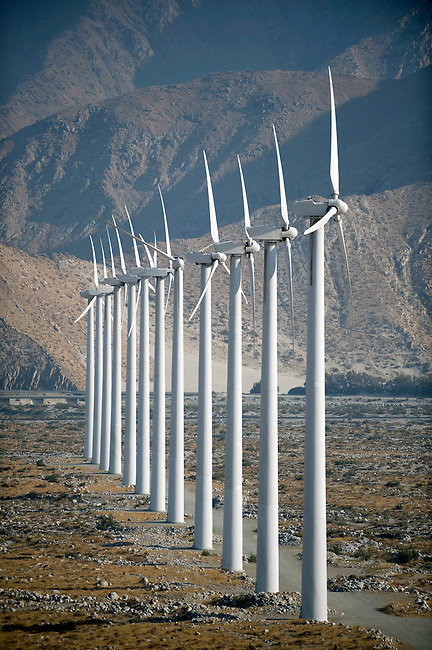 The San Gorgonio Pass Wind Farm consists of over 3000 wind turbines generating electricity near Banning, Calif.
