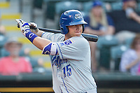 Omaha Storm Chasers first baseman Balbino Fuenmayor (15) at bat during a game against the Oklahoma City Dodgers at Chickasaw Bricktown Ballpark on June 16, 2016 in Oklahoma City, Oklahoma. Oklahoma City defeated Omaha 5-4  (William Purnell/Four Seam Images)