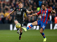 3rd November 2019; Selhurst Park, London, England; English Premier League Football, Crystal Palace versus Leicester City; James McArthur of Crystal Palace challenges Harvey Barnes of Leicester City  - Strictly Editorial Use Only. No use with unauthorized audio, video, data, fixture lists, club/league logos or 'live' services. Online in-match use limited to 120 images, no video emulation. No use in betting, games or single club/league/player publications