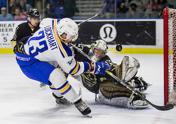 13 January 2016:  Action during a men's ice hockey game between the University of British Columbia Thunderbirds and the University of Manitoba Bisons at Doug Mitchell Arena, University of British Columbia, Vancouver, BC, Canada.  ****(Photo by Bob Frid/UBC Athletics 2017 All Rights Reserved****