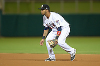 Glendale Desert Dogs second baseman Eddie Rosario (2), of the Minnesota Twins organization, during an Arizona Fall League game against the Salt River Rafters on October 16, 2013 at Camelback Ranch in Phoenix, Arizona.  Glendale defeated Salt River 8-6.  (Mike Janes/Four Seam Images)