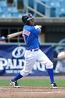 Second baseman Wes Roberson (1) of Houston High School in Memphis, Tennessee playing for the New York Mets scout team during the East Coast Pro Showcase on July 31, 2013 at NBT Bank Stadium in Syracuse, New York.  (Mike Janes/Four Seam Images)