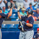5 March 2016: Detroit Tigers catcher Bryan Holaday crosses the plate after hitting his second home run of the game, a 2-run shot to left field, during a Spring Training pre-season game against the Washington Nationals at Space Coast Stadium in Viera, Florida. The Tigers fell to the Nationals 8-4 in Grapefruit League play. Mandatory Credit: Ed Wolfstein Photo *** RAW (NEF) Image File Available ***