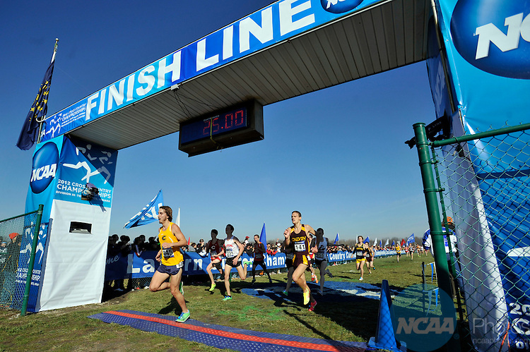 17 NOV 2012:  Aaron Eisker of Wisconsin - Eau Claire crosses the finish line in 25th place during the Division III Men's Cross Country Championship held at the LaVern Gibson Cross Country Course in Terre Haute, IN.  Alan Petersime/NCAA Photos