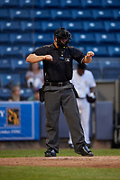 Umpire Kyle Levine calls a strike during a NY-Penn League game between the Aberdeen Ironbirds  and Staten Island Yankees on August 22, 2019 at Richmond County Bank Ballpark in Staten Island, New York.  Aberdeen defeated Staten Island 4-1 in a rain shortened game.  (Mike Janes/Four Seam Images)