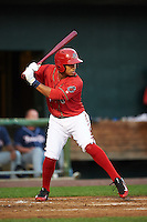 Harrisburg Senators designated hitter Christopher Bostick (1) at bat during a game against the New Hampshire Fisher Cats on July 21, 2015 at Metro Bank Park in Harrisburg, Pennsylvania.  New Hampshire defeated Harrisburg 7-1.  (Mike Janes/Four Seam Images)