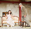 The Roundabout <br /> by JB Priestley <br /> directed by Hugh Ross<br /> at Park Theatre, London, Great Britain <br /> 24th August 2016 <br /> Press photocall <br /> <br /> <br /> <br /> <br /> Bessie Carter as Pamela Kettlewell <br /> <br /> Brian Protheroe as Lord Kettlewell <br /> <br /> <br /> <br /> Photograph by Elliott Franks <br /> Image licensed to Elliott Franks Photography Services