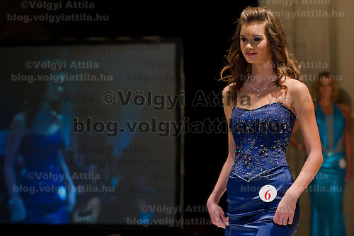 Reka Meszaros attends the Miss Hungary 2010 beauty contest held in Budapest, Hungary on November 29, 2010. ATTILA VOLGYI