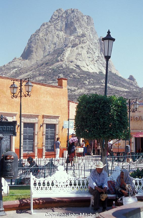 The main square in the village of San Sebastian Bernal, Queretaro state, Mexico. La Pena de Bernal is in the background.