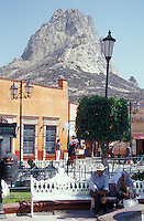 The main square in the village of San Sebastian Bernal, Queretaro state, Mexico. La Pena de Bernal is in the background.