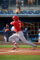 Palm Beach Cardinals Justin Toerner (7) bats during a Florida State League game against the Charlotte Stone Crabs on April 14, 2019 at Charlotte Sports Park in Port Charlotte, Florida.  Palm Beach defeated Charlotte 5-3.  (Mike Janes/Four Seam Images)