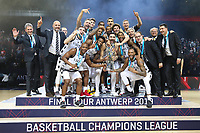(190506) -- ANTWERP, May 6, 2019 -- Members of Segafredo Virtus Bologna celebrate their victory after winning the final match between Segafredo Virtus Bologna and Iberostar Tenerife of the FIBA Basketball Champions League in Antwerp, Belgium, May 5, 2019. The Segafredo Virtus Bologna won 73-61 and claimed the title. ) (SP)BELGIUM-ANTWERP-BASKETBALL-FIBA-CHAMPIONS LEAGUE-FINAL ZhengxHuansong PUBLICATIONxNOTxINxCHN  <br /> Pallacaanestro Finale Champions League 2018/2019 <br /> Foto Imago / Insidefoto <br /> ITALY ONLY