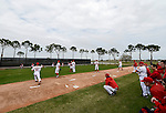 VIERA, FL-  FEBRUARY 26:  Pitchers of the Washington Nationals throw a bullpen session during the Washington Nationals Spring Training at Space Coast Stadium in Viera, FL (Photo by Donald Miralle) *** Local Caption ***