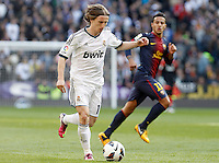 Real Madrid's Luca Modric (l) and FC Barcelona's Thiago Alcantara during La Liga match.March 02,2013. (ALTERPHOTOS/Acero) /NortePhoto