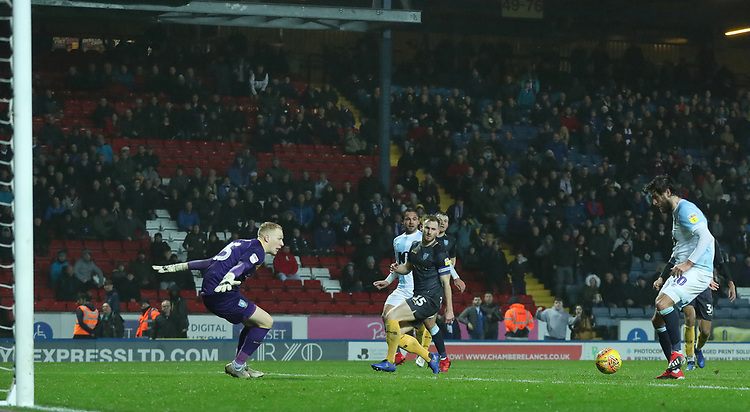 Blackburn Rovers' Danny Graham scores his side's fourth goal <br /> <br /> Photographer Rachel Holborn/CameraSport<br /> <br /> The EFL Sky Bet Championship - Blackburn Rovers v Sheffield Wednesday - Saturday 1st December 2018 - Ewood Park - Blackburn<br /> <br /> World Copyright &copy; 2018 CameraSport. All rights reserved. 43 Linden Ave. Countesthorpe. Leicester. England. LE8 5PG - Tel: +44 (0) 116 277 4147 - admin@camerasport.com - www.camerasport.com