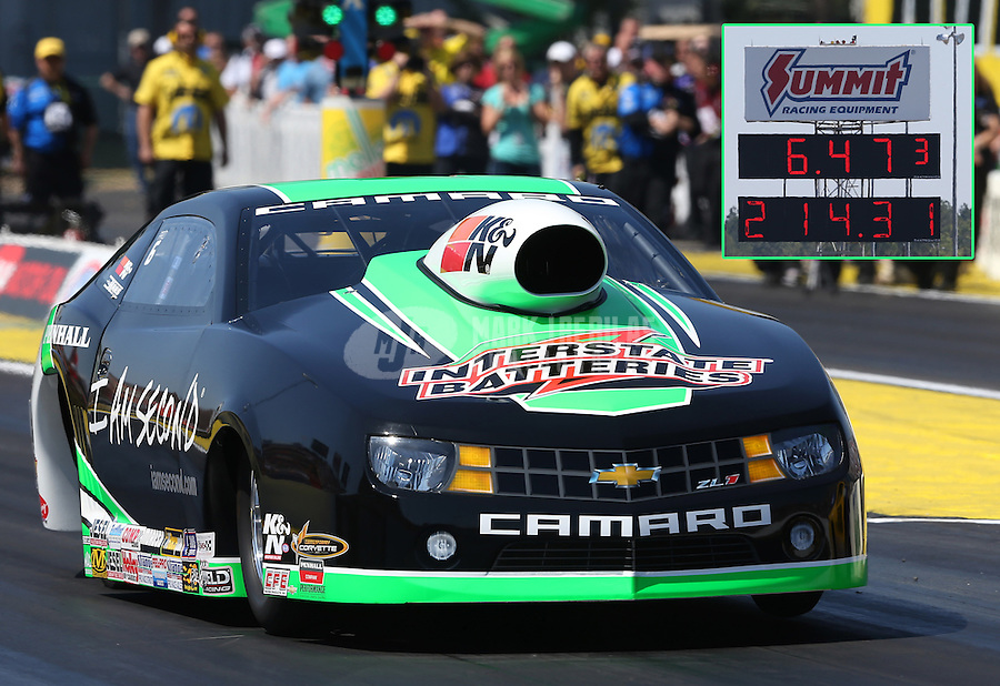 Mar. 15, 2013; Gainesville, FL, USA; NHRA pro stock driver Mike Edwards during qualifying for the Gatornationals at Auto-Plus Raceway at Gainesville. Mandatory Credit: Mark J. Rebilas-
